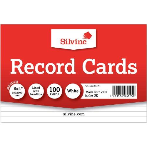 "Silvine Record Cards 6""X4"" 100/Pkg-White, Ruled"