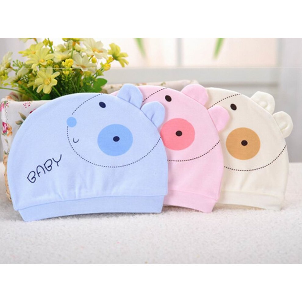 e85c9ff66f1 ... Set of 3 Cute Baby Hats Infant Caps Newborn Baby Cotton Hat Rabbit Blue  - 1.