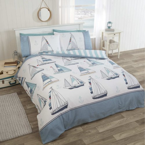 R H Linens Sail Away Nautical Sea Boats Single Duvet Cover Bedding Set