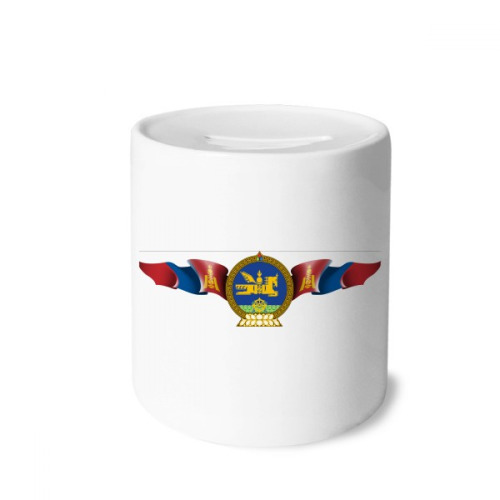 Mongolia National Emblem Country Symbol Money Box Saving Banks Ceramic Coin Case Kids Adults