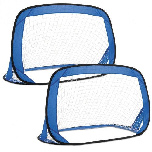 Toyrific Kids Pop-Up Fibreglass Soccer Football Sport Goals Pair Blue WB-TY5110
