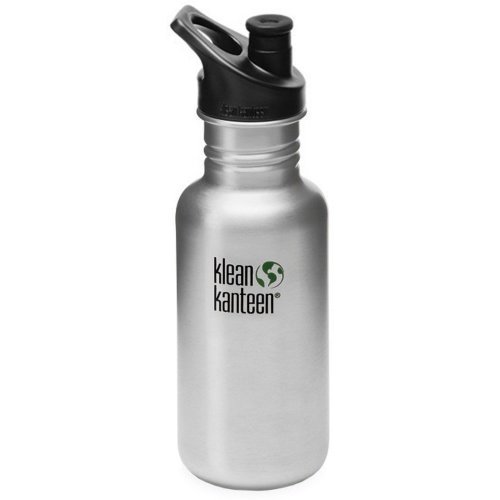Klean Kanteen Classic 532ml Water Bottle with Sport Cap (Brush Stainless)