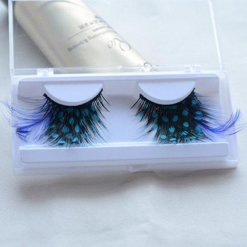 Blue Feather False Eyelashes