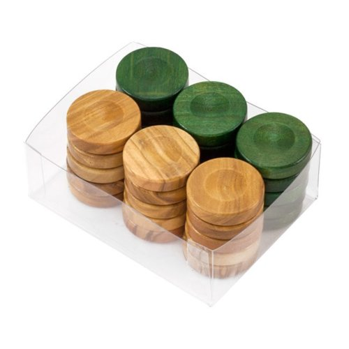 Deluxe Olive Wood Backgammon Stones Natural & Green 26mm