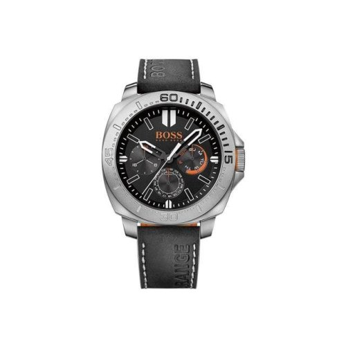 Hugo Boss 1513298 Men's Black Leather Stainless Steel Orange Strap Quartz Watch