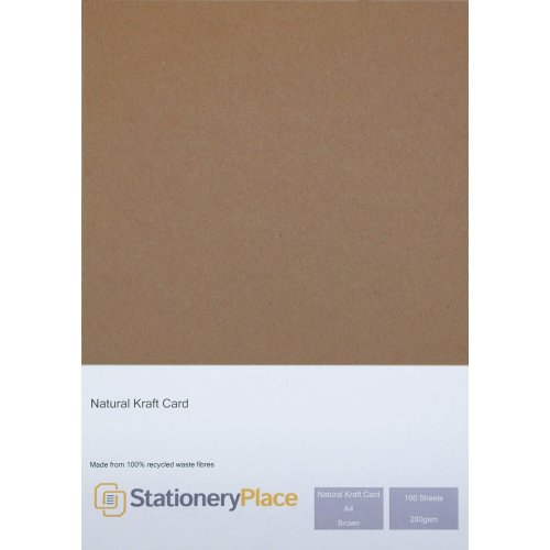Stationery Place Brown Recycled Natural Kraft Card - A4 280 GSM 100 Sheet Pack