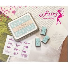 Creative Letter Stamps Fairy Custom Rubber Stamps Set of 12 with Tin Box