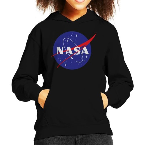 (Small (5-6 yrs), Black) The NASA Classic Insignia Kid's Hooded Sweatshirt