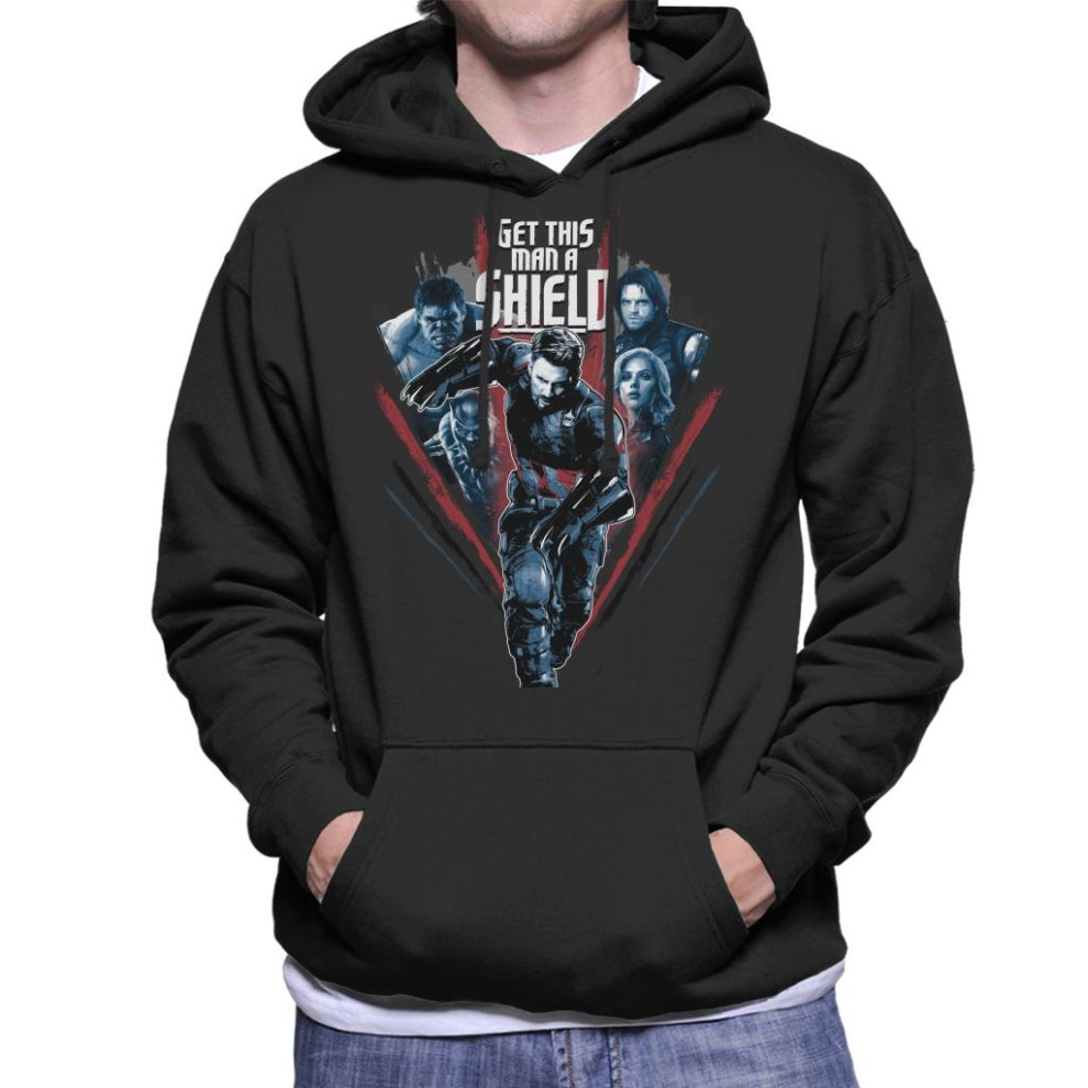 1b7e4148 Marvel Avengers Infinity War Captain America Get This Man A Shield Men's  Hooded Sweatshirt ...
