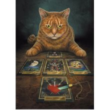 Lisa Parker The Reader Blank Greeting Card Ginger Cat Tarot Cards Birthday Christmas Pagan Wiccan Fantasy Gift