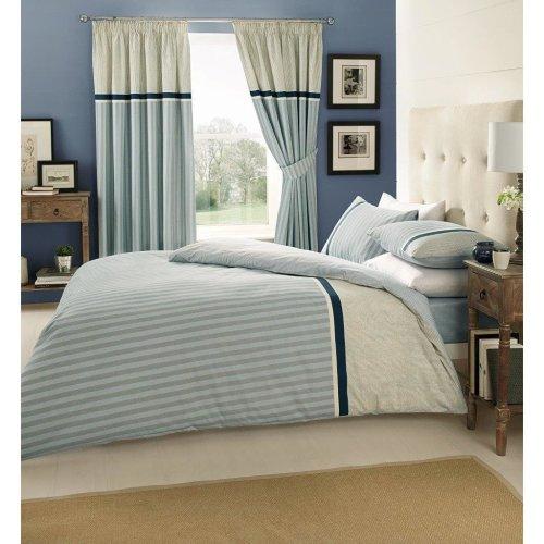 Valeria light blue stripe cotton blend duvet cover