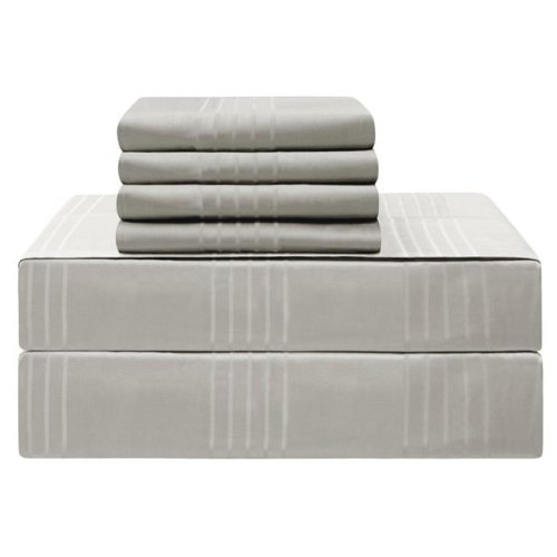 Jean Pierre YMS008231 Premium 420 Thread Count 100 Percent Cotton Sheet Set, Silver - King - 6 Piece
