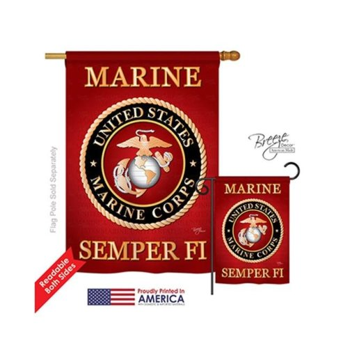 Breeze Decor 08057 Military Marine Corps 2-Sided Vertical Impression House Flag - 28 x 40 in.