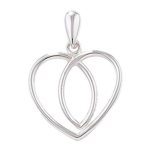 Childrens Sterling Silver Plain Celtic Heart Pendant On A Curb Necklace