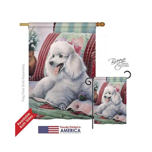 Breeze Decor 10093 Pets Poodle 2-Sided Vertical Impression House Flag - 28 x 40 in.