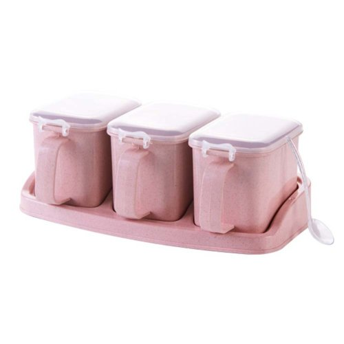 PINK Condiment Pot Seasoning Box Salt Pepper Spice Box