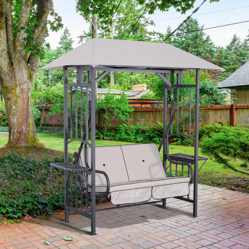 Outsunny Garden 2 Seater Canopy Swing Chair Porch Loveseat W And Side Drink Panel On
