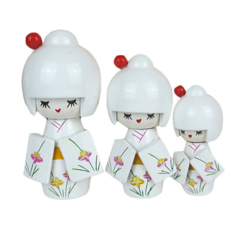 3 Pcs Lovely Japanese Kimono Girl Wooden Dolls With Orchid, White