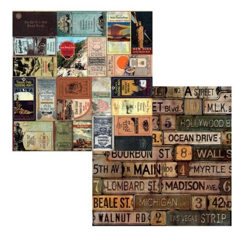 Canvas 7g19554 12 x 12 in. Road Atlas American Vintage 2 Sided Cardstock Paper