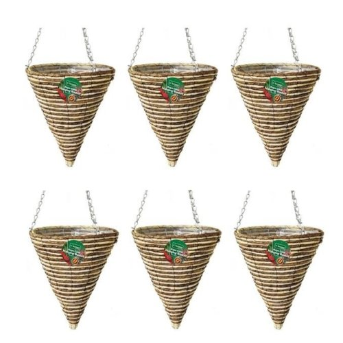 6 X Kingfisher 30 cm Rope Cone Garden Plant Lined Basket 40 cm Hanging Chain