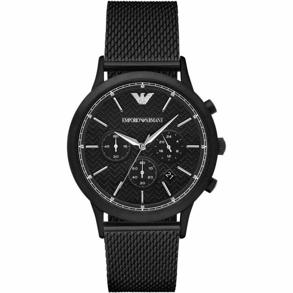 Emporio Armani Black Stainless Steel Chronograph Mens Watch AR2498