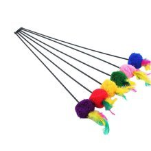 4 Sets Of Cat Toy Fake Artificial Fur Ball Mouse Cat Stick Lever, Feather Round