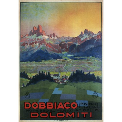 Advertising poster - Dobbiaco Dolomiti - High definition printing on stainless steel plate