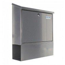 Steel Post Box with Newspaper Holder Silver Rottner Villa -Set