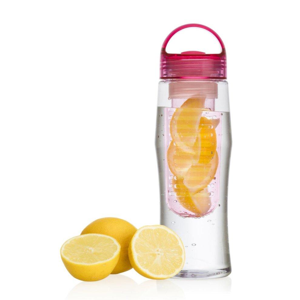 Vinsani Fruit Fuzer Water Bottle Fruit Infusion Infuser Aqua Hydration Pink