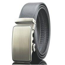 125-130CM Men Business Genuine Leather Belt Bright Gold Buckle Automatic Buckle Belt