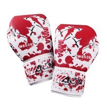 Cool Adult Boxing Gloves Training Gloves RED WHITE, 10 Ounce