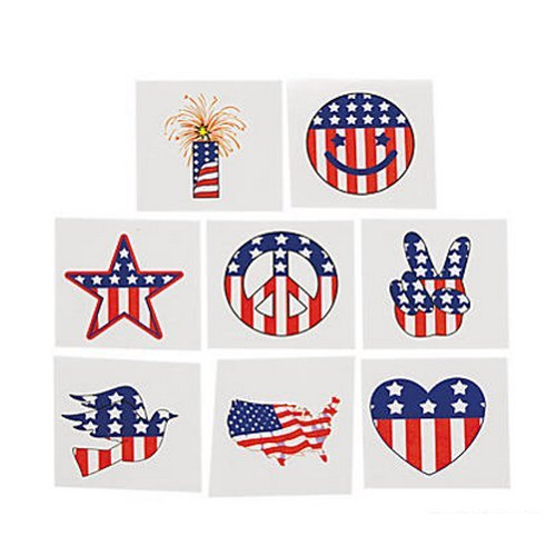 Pack of 12 - Patrtotic USA Temporary Tattoos - Party Bag Fillers