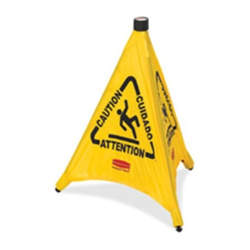 Rubbermaid Commercial Products RCP9S0000YW Pop-Up Safety Cone- in.Cautionin.- Multi-Lingual- 20in.x21in.- Yellow