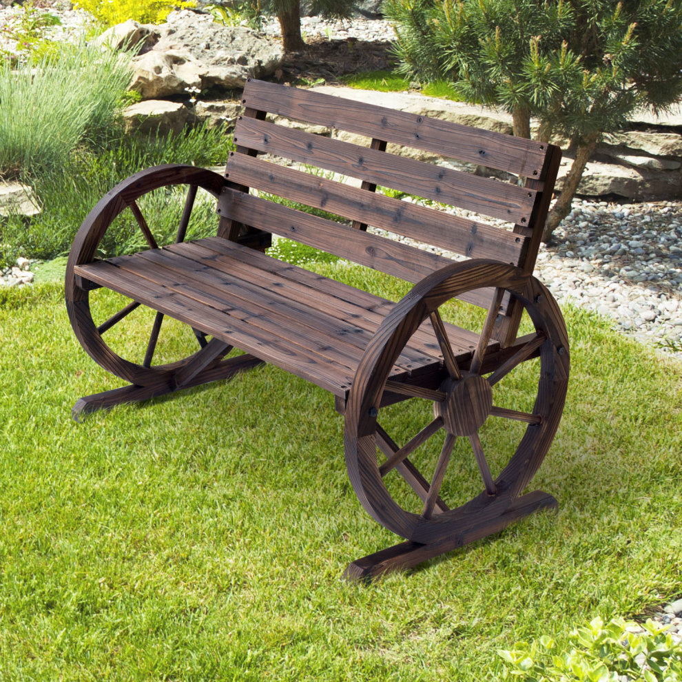 Outsunny Wagon Wheel Chair Bench Armrest Rustic High Back