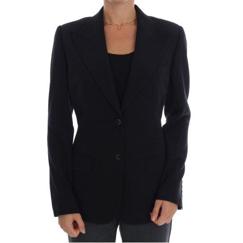 Dolce & Gabbana Black Wool Stretch Blazer Jacket