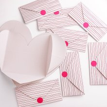 Kuuqa 20 Pieces Heart Shape Thank You Cards Valentine's Greeting Gift Cards