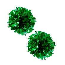 Set of 2 Plastic Ring Pom Metallic Cheerleading Poms 100g Green