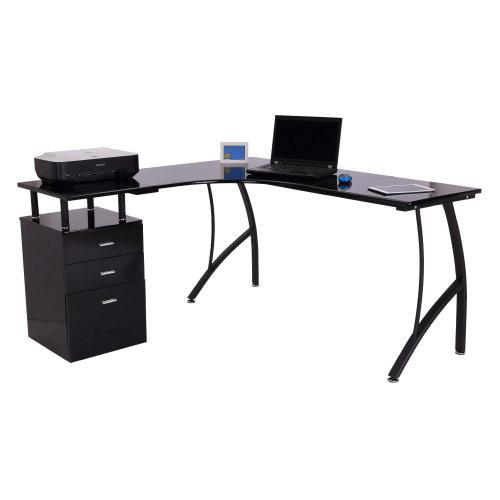 Homcom L-Shape Computer Desk PC Workstation Home Office Furniture - Black