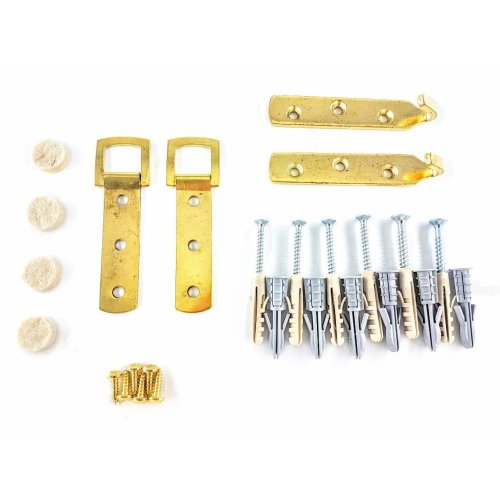 Heavy Duty Brass Plated Large Picture/Mirror Hanging kit - Plaster & Solid Walls - UP to 25KGS