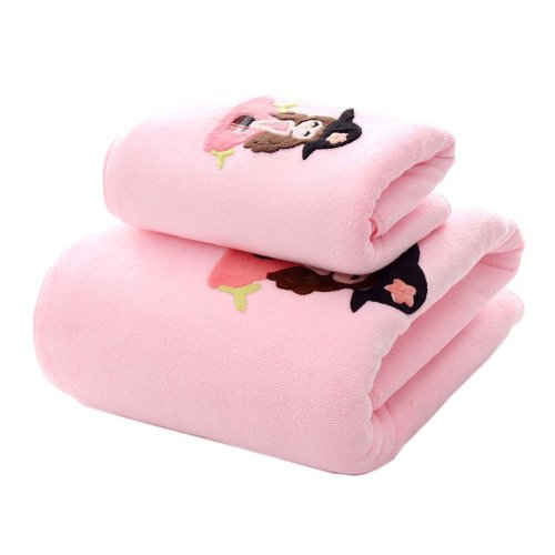 Soft Fiber Bath Towel Set Absorbent for Bathroom Beach Sport, Pink girl, Set of 2