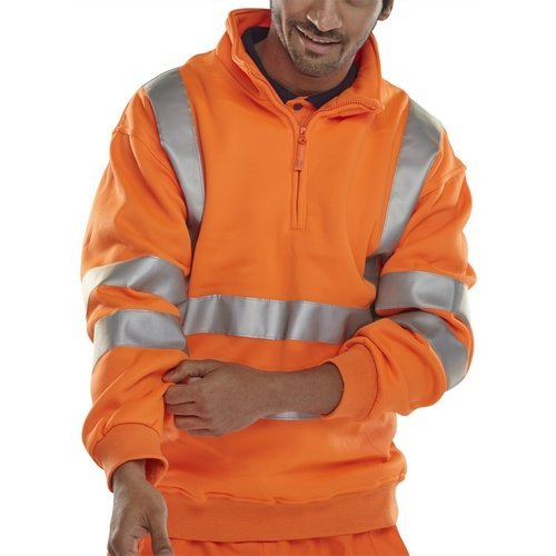 Click BSZSSENORXXL Hi Vis Orange Zipped Sweatshirt EN471 XXL