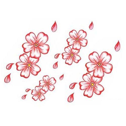 3 Sheets Colorful Cherry Blossom Temporary Tattoos Makeup Body Art Stickers Simulation Tattoos Tattoo Sticker