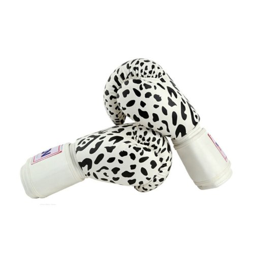 Sexy Leopard Adult Boxing Gloves Training Gloves BLACK WHITE, 10 Ounce