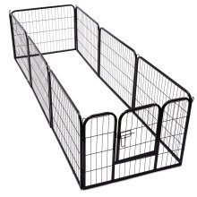 Pawhut Dog Pet Puppy Metal Playpen Play Pen Hutch Run Enclosure Foldable Black