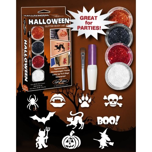 Halloween Glitter Tattoo Kit - HYPOALLERGENIC and DERMATOLOGIST TESTED!