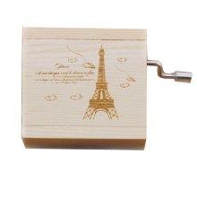 Mini Hand Crank Music Box Wooden Music Box Eiffel Tower