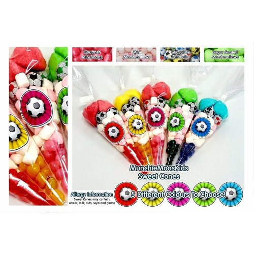 10 x Pre Filled Football Soccer Sweet Cones 50 grams  Party Bag Sweets