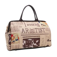 Retro English Newspaper Pattern Travel Tote Duffel Bag