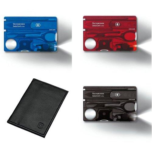 Genuine Victorinox Swiss Card Lite + pouch - 13 function swisscard - white LED