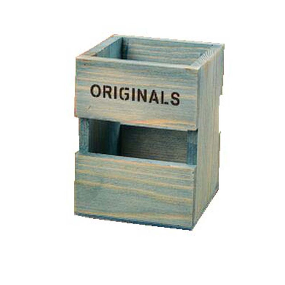 Creative Wooden Pencil Holder Desk Storage Box Container Office